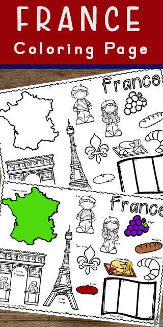 FREE Country of France Coloring Page.#fhdhomeschoolers #freehomeschooldeals #francecoloringpage #allaboutfrance