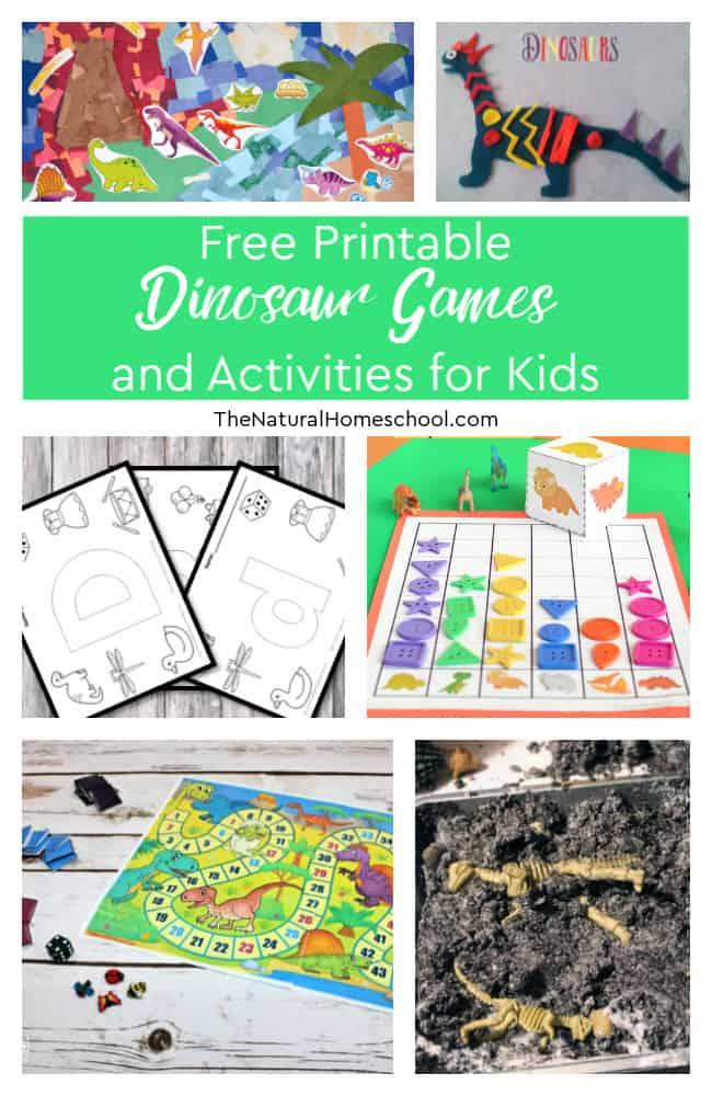 FREE Dinosaur Game Printables. #fhdhomeschoolers #freehomeschooldeals #dinosaurkidsgames #dinosaurprintables #dinosauractivities