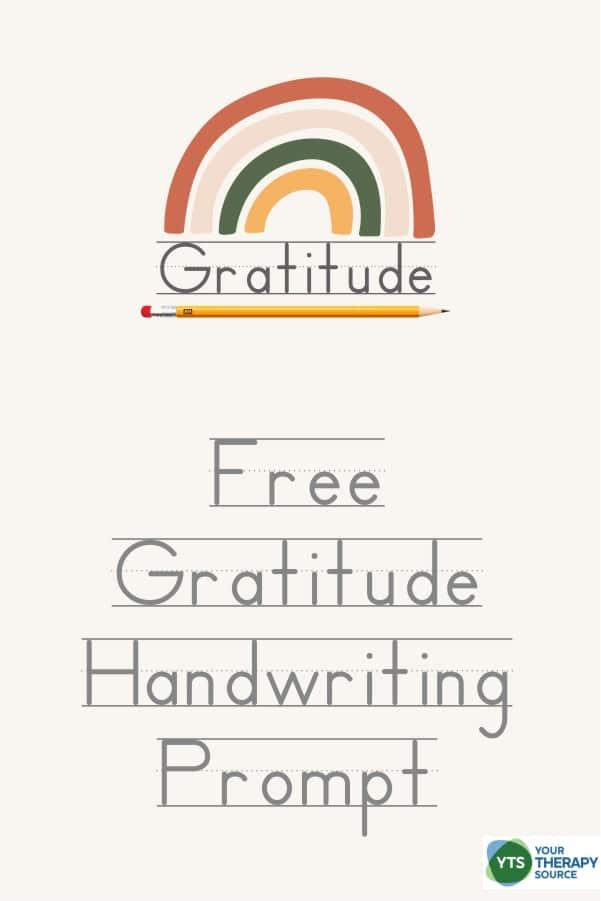 FREE Printable Gratitude Handwriting Prompt. #freehomeschooldeals #fhdhomeschoolers #gratitudeprompt #gratefulness #gratefulkids #gratitudehandwritingpractice