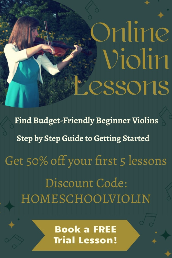 Want to find music lessons but can't leave the house? Get Online Violin Lessons - FREE Trial + 50% Off First 5 Lessons! #fhdhomeschoolers #freehomeschooldeals #onlinemusiclessons #violinlessons #homeschool