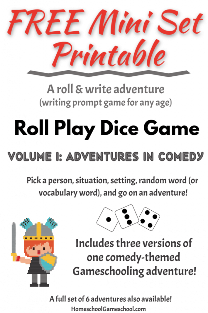 FREE Writing Prompt Roll & Write Game. #fhdhomeschoolers #freehomeschooldeals #rollandwritegame #writingprompts #rollplaydicegame