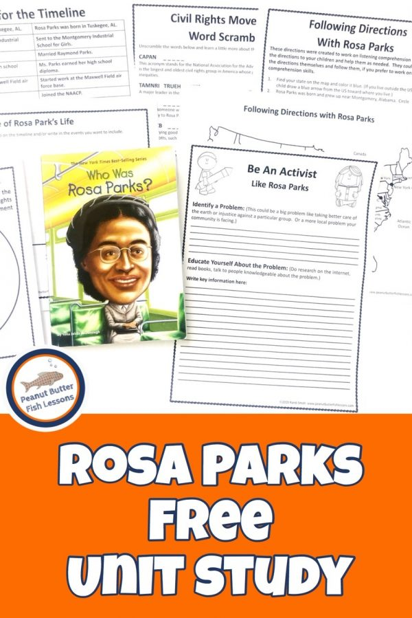 FREE Rosa Parks Unit Study. #freehomeschooldeals #fhdhomeschoolers #rosaparksunitstudy#rosaparkresoruces #rosaparksprintables