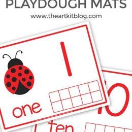 FREE Ten Frame Ladybug Printables. #fhdhomeschoolers #freehomeschooldeals #ladybugpprintables #tenframe #countingpractice