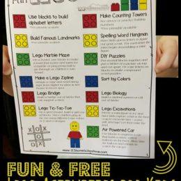 Kids Lego Activities Poster. #freehomeschooldeals #fhdhomeschoolers #kidslegoactivities #legoactivitiesposter
