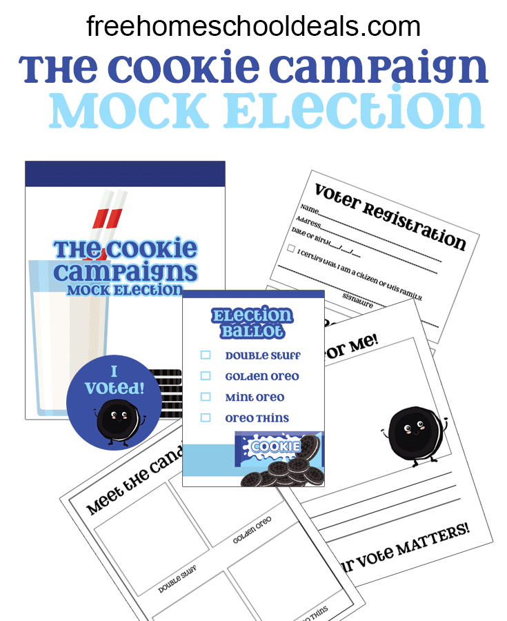Teach your child all about voting and election day with The Cookie Campaign Mock Election FREE Printable Pack! #fhdhomeschoolers #freehomeschooldeals #mockelection #electionday #socialstudies