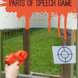 FREE Parts of Speech Paint Gun Game. #fhdhomeschoolers #freehomeschooldeals #partsofspeechgame #paintgungame #partsofspeechprintables