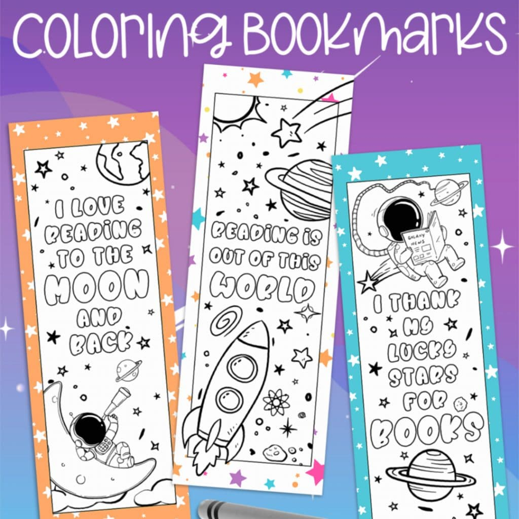 Space Bookmark Printables for FREE. #freehomeschooldeals #fhdhomeschoolers #spacebookmarks #coloringbookmarks #bookmarksforcoloring #spacethemedbookmarks