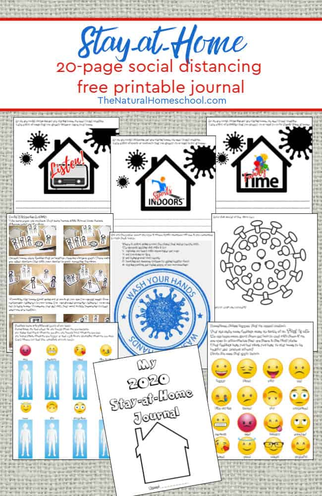 FREE 20-Page Journal for Staying at Home. #freehomeschooldeals #fhdhomeschoolers #stayingathome #stayinghealthyresources #easyfacemaskvideo