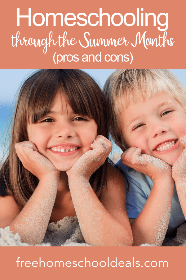 Thinking about homeschooling over the summer? Check out Homeschooling Through the Summer Months (Pros & Cons)! #fhdhomeschoolers #freehomeschooldeals #hsmoms #summerhomeschool #yearroundhomeschool