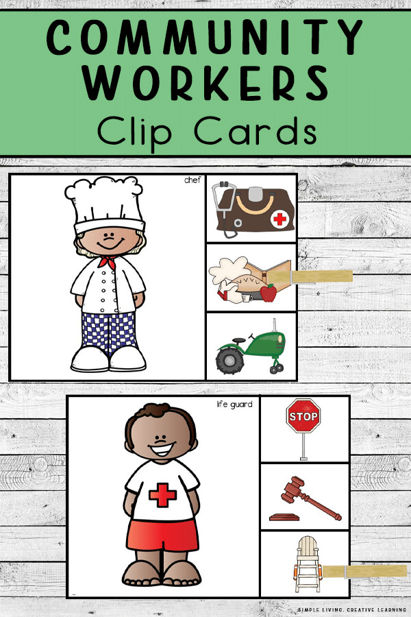 Community Workers FREE Clip Cards. #freehomeschooldeals #fhdhomeschoolers #communityhelpers #communityhelperclipcards #clipcards