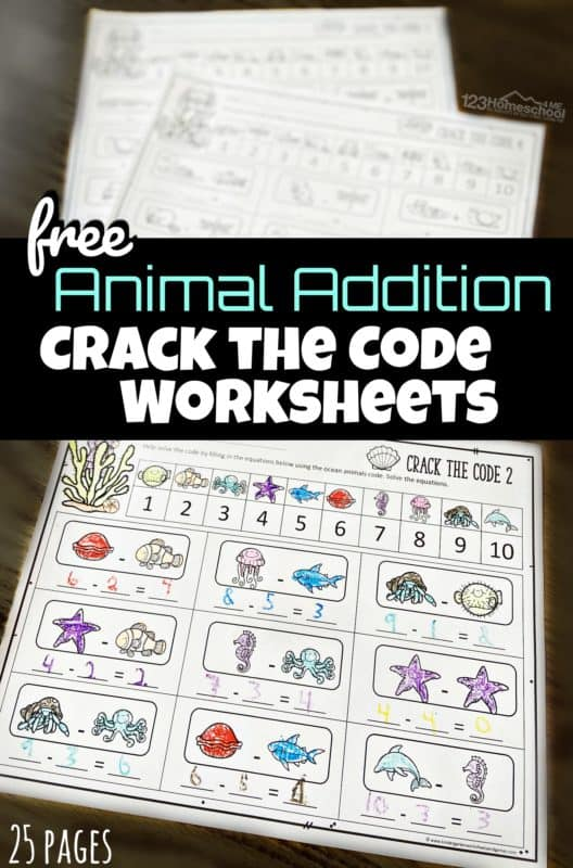 FREE Math Crack the Code Worksheets. #freehomeschooldeals #fhdhomeschoolers #crackthecodemath #mathworksheets #additionworksheets