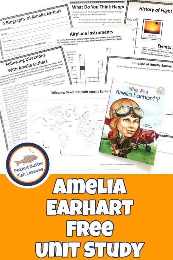 FREE Amelia Earhart Unit Study. #freehomeschooldeals #fhdhomeschoolers #ameliaearhartunitstudy #aviationprintables #ameliaearhartresource