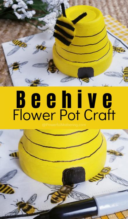 Make a Beehive - Flower Pot Craft. #freehomeschooldeals #fhdhomeschoolers #makeabeehivecraft #flowerpotcraft