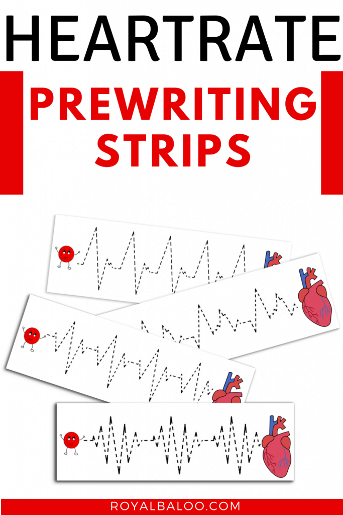 FREE Prewriting Heartrate Pages. #freehomeschooldeals #fhdhomeschoolers #prewritingpages #heartratepages #prewritingpractice