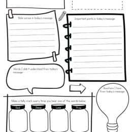 FREE Sermon Note Printables for Kids. #freehomeschooldeals #fhdhomeschoolers #sermonnotesforkids #kidsermonnotes