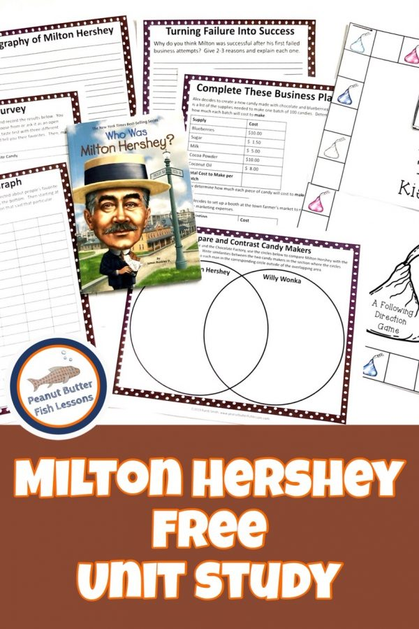FREE Milton Hershey Unit Study. #freehomeschooldeals #fhdhomeschoolers #chickenlifecycle #MiltonHershey #HershetUnitStudy #allabouthershey