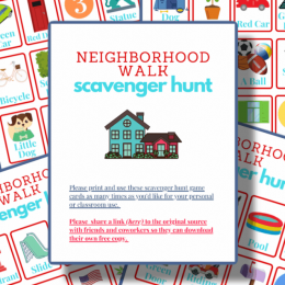 During physical distancing, get outside and explore with these FREE Neighborhood Scavenger Hunt for Kids! #fhdhomeschoolers #freehomeschooldeals #scavengerhunts #hsdays #homeschoolgames