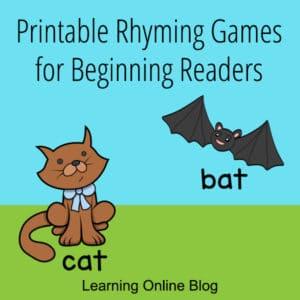 FREE Beginning Reader Rhyming Games Printable. #freehomeschooldeals #fhdhomeschoolers #beginningreaderprintable #rhyminggames #rhymingwordprintable