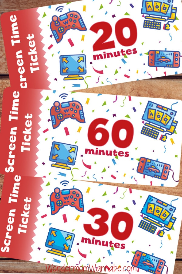 Limit your child's screen time with these FREE Printable Screen Time Tickets! #fhdhomeschoolers #freehomeschooldeals #limitscreentime #hsmoms #screentimetickets