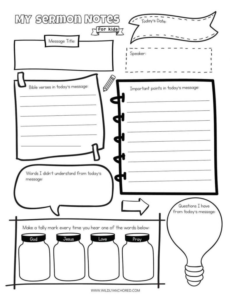 FREE Printable Sermon Notes for Kids. #freehomeschooldeals #fhdhomeschoolers #sermonnotesforkids #kidsermonnotes #kidsermonprintable