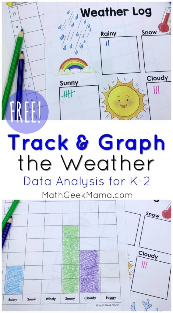 Track the Weather FREE Math Activity. #freehomeschooldeals #fhdhomeschoolers #tracktheweather #analyzingdata #graphtheweather #tallymath