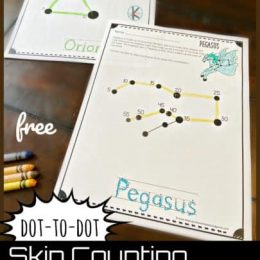 FREE Constellations Skip Counting Printable. #freehomeschooldeals #fhdhomeschoolers #constellationsprintables #skipcounting #skipcountingprintables