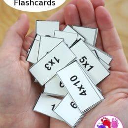 FREE Multiplication Mini Flashcards. #freehomeschooldeals #fhdhomeschoolers #miniflashcards #minimultiplicationcards #multiplicationresources