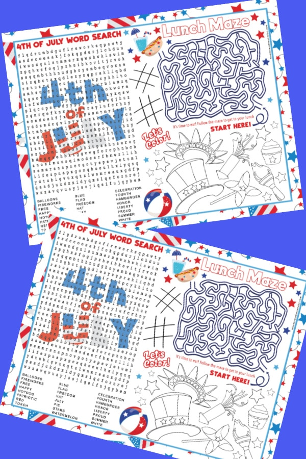sample pages of 4th of July Activity Placemats for Kids