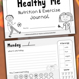 sample pages of the Healthy Me Nutrition & Exercise Journal