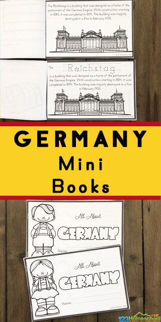FREE Printable Book on Germany. #freehomeschooldeals #fhdhomeschoolers #Germanyprintable #Germanybook #Germanyminibook