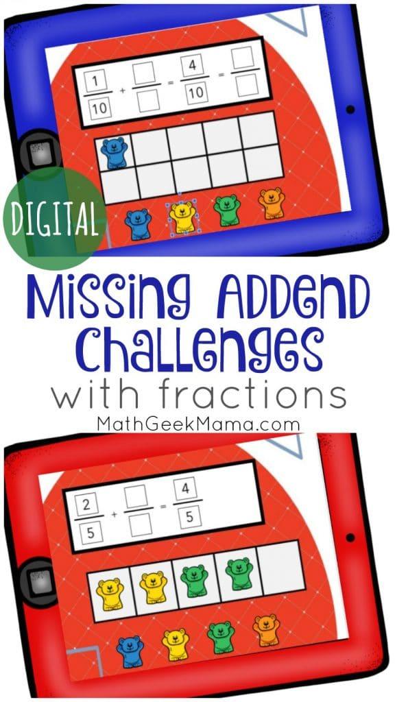 Missing Addends FREE Google Slides. #freehomeschooldeals #fhdhomeschoolers #missingaddends #fractionaddends #GoogleSlidefractions