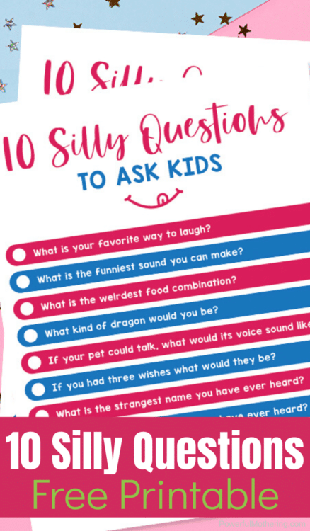 Silly Questions FREE Printable List. #fhdhomeschoolers #freehomeschooldeals #sillyquestionsprintables #sillyparentkidquestions