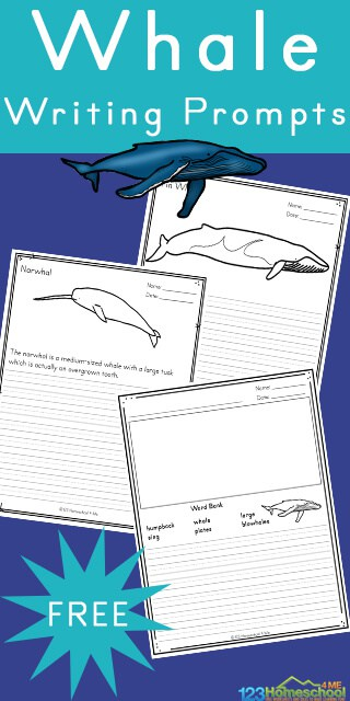 FREE Printable Whale Writing Prompts. #freehomeschooldeals #fhdhomeschoolers #whalewritingprompts #whaleprintables #seacreatureprintables #writeaboutwhales