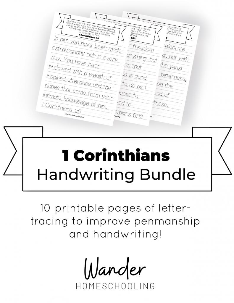 1 Corinthians FREE Handwriting Sheets. #fhdhomeschoolers #freehomeschooldeals #handwritingsheets #1corinthiansprintables #corinthianshandwritingsheets