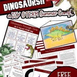 FREE DIY STEAM Dinosaur Summer Camp. #freehomeschooldeals #fhdhomeschoolers #dinosaursummercamp #summercamp #STEAMdinosauractivity