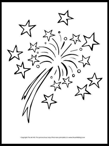 FREE Festive Fireworks Coloring Page. #fhdhomeschoolers #freehomeschooldeals #fireworkscoloringpage #fireworksprintable