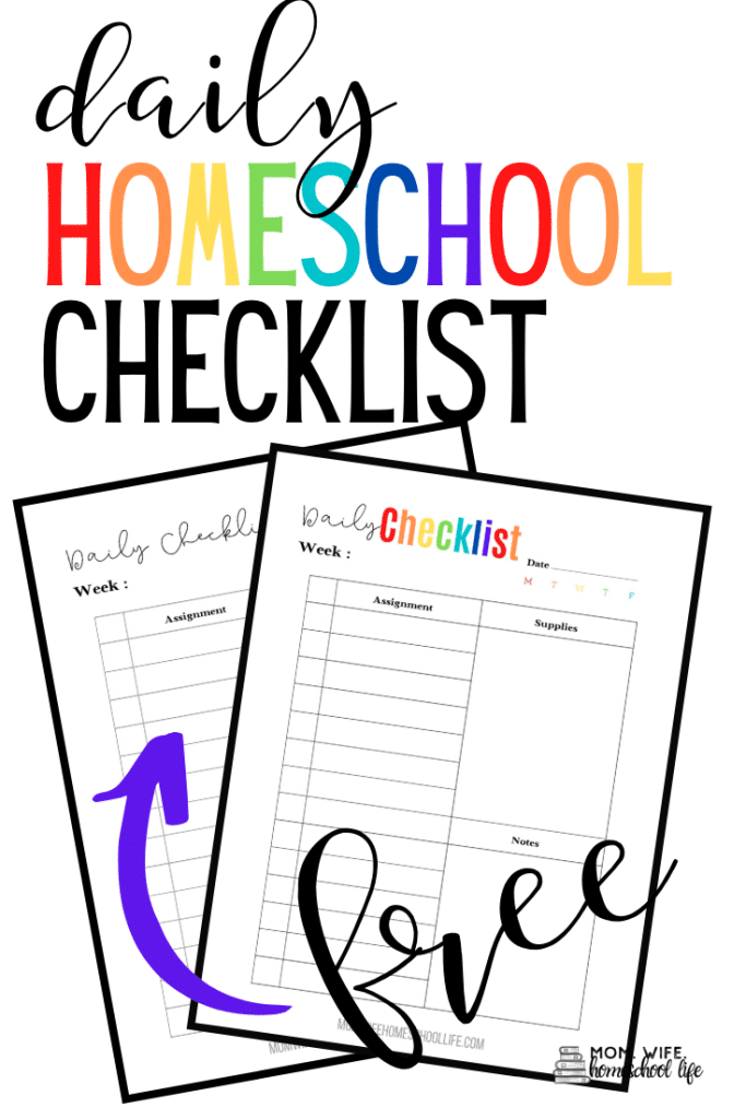 FREE Printable Homeschool Daily Checklist. #fhdhomeschoolers #freehomeschooldeals #dailyhomeschoolchecklist #homeschooldailychecklist #homeschooldailyroutine