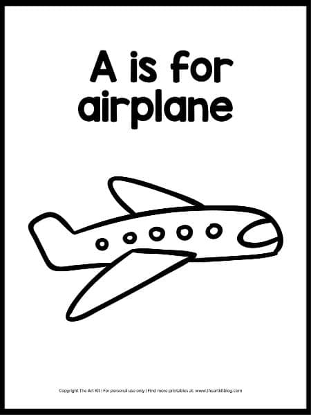 A for Airplane FREE Coloring Page. #freehomeschooldeals #fhdhomeschoolers #AforAirplane #coloringpagea #letterAcoloringpage