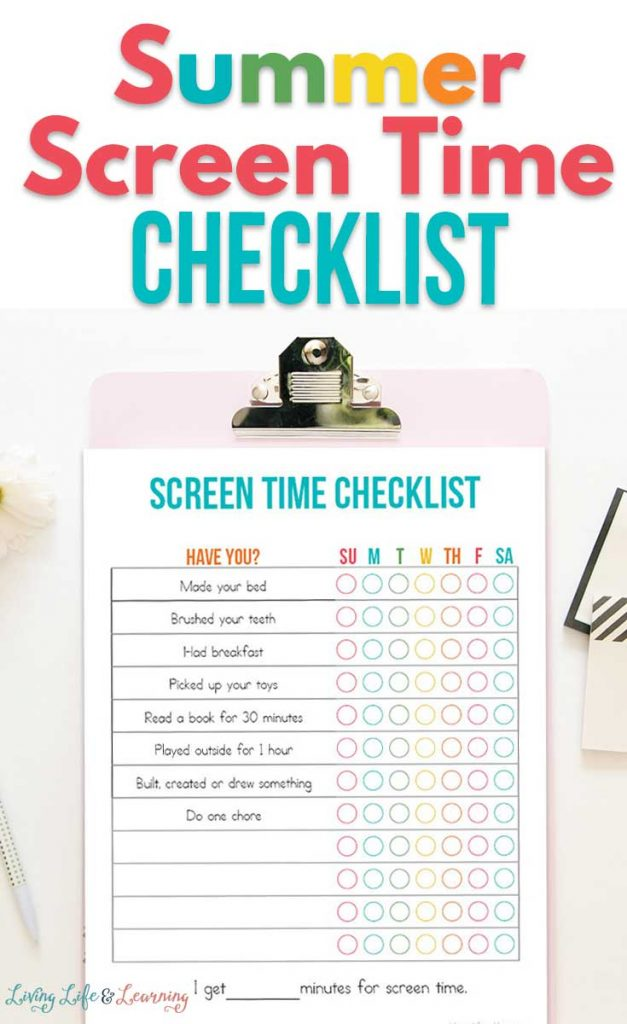 FREE Summer Screen Time Checklist. #freehomeschooldeals #fhdhomeschoolers #summerscreenchecklist #screentimechecklist #screentimeprintable