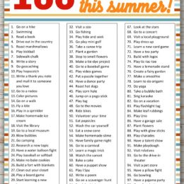 Sample page view of 100 Things to Do this Summer Printable List