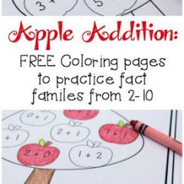 Apple Addition FREE Coloring Pages. #freehomeschooldeals #fhdhomeschoolers #appleaddition #appleprintables #additionprintables #appletheme