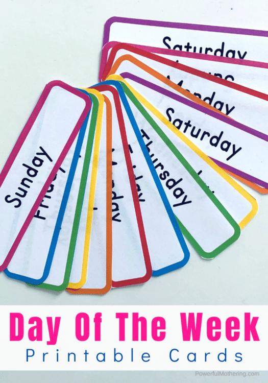 FREE Printable Days of the Week Cards. #freehomeschooldeals #fhdhomeschoolers #daysoftheweekcards #printableweekdaycards