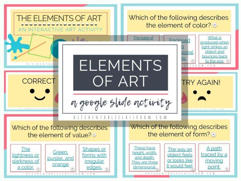 FREE Elements of Art Google Slides. #freehomeschooldeals #fhdhomeschoolers #elementsofart #artGoogleslides #interactiveGoogleslides