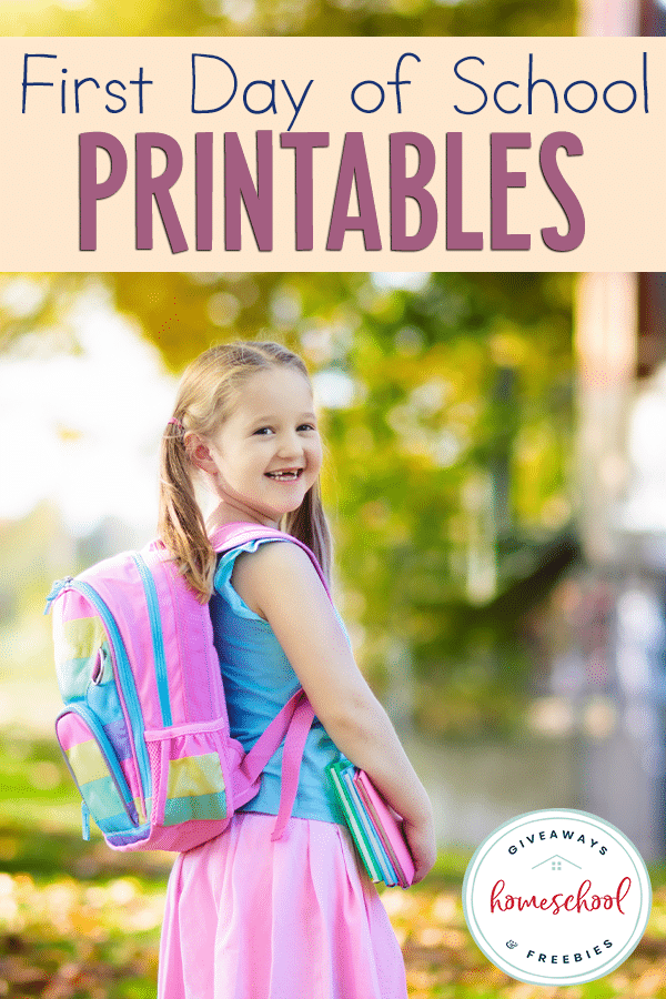 FREE Printables for the First Day of School. #freehomeschooldeals #fhdhomeschoolers #firstdayofschool #firstdayprintables