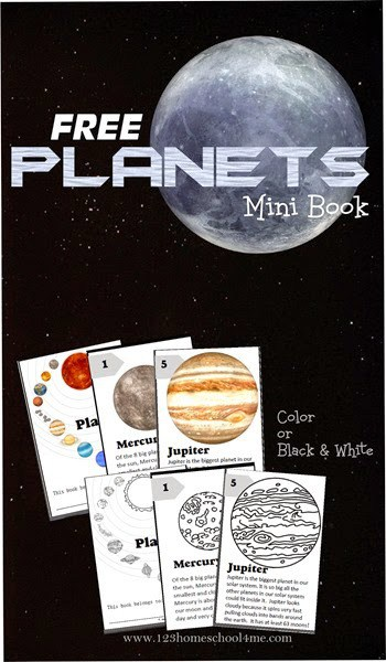 FREE Planets Mini Book. #freehomeschooldeals #fhdhomeschoolers #planetsminibook #planetsprintable #solarsystemresource