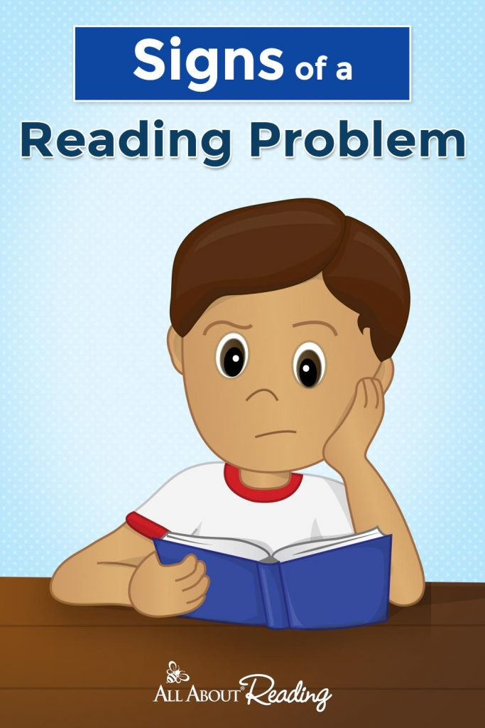 """frustrated boy with book in hand - overlay says """"Signs of a Reading Problem"""""""