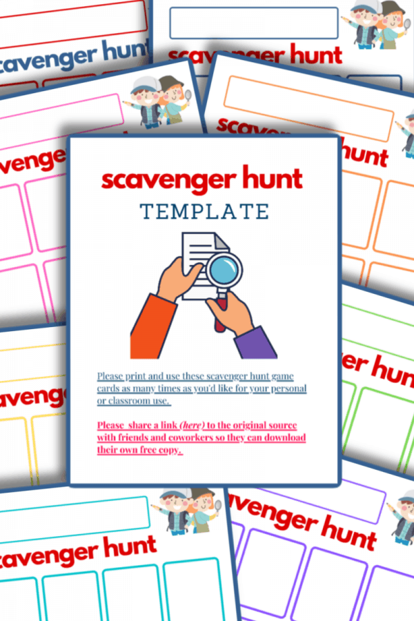 sample pages of scavenger hunt templates
