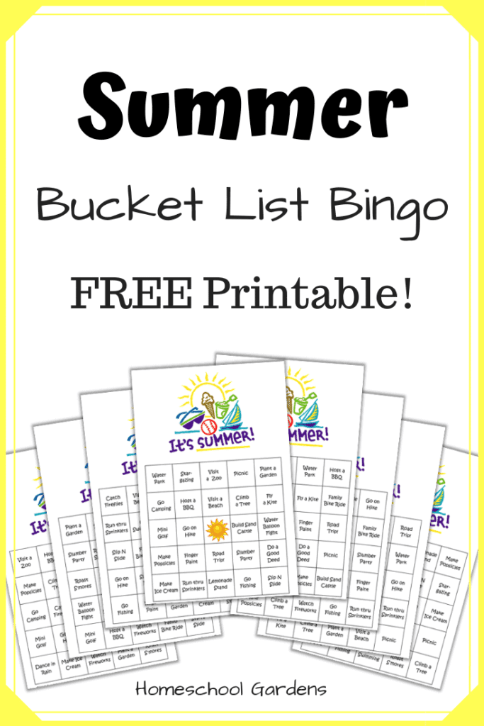 FREE Summer Bucket List Bingo Printable. #freehomeschooldeals #fhdhomeschoolers #summerbucketlist #bucketlistbingo