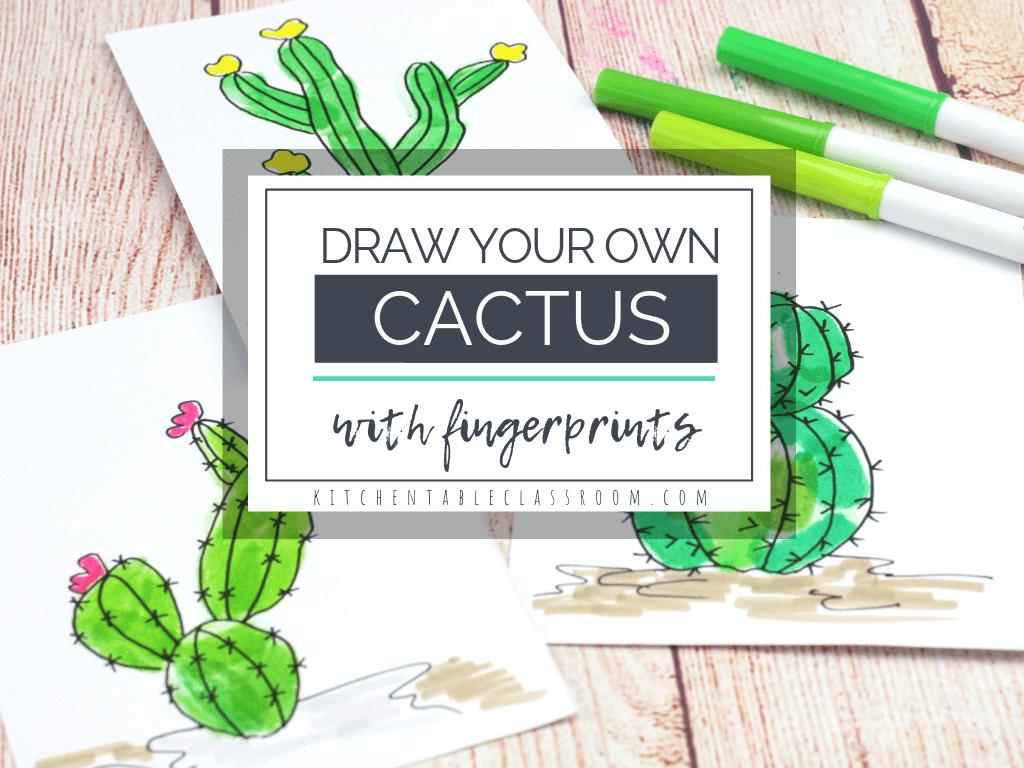 Make Your Own Cactus Drawing Art Activity. #freehomeschooldeals #fhdhomeschoolers #cactusdrawingactivity #drawyourowncactus #cactusfingerprintsdrawing