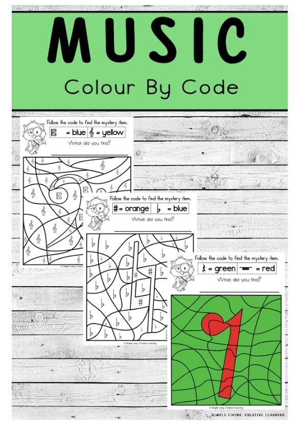 FREE Music Color By Code Worksheets. #freehomeschooldeals #fhdhomeschoolers #musicbycolor #colorbycode #musicbycolorworksheets